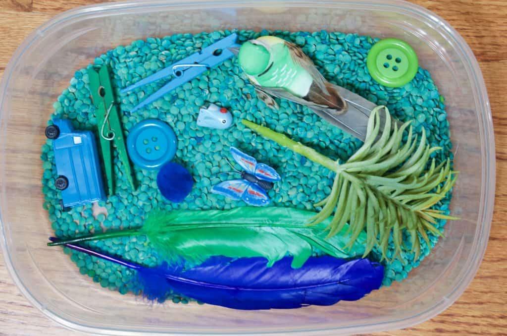 blue and green sensory bin