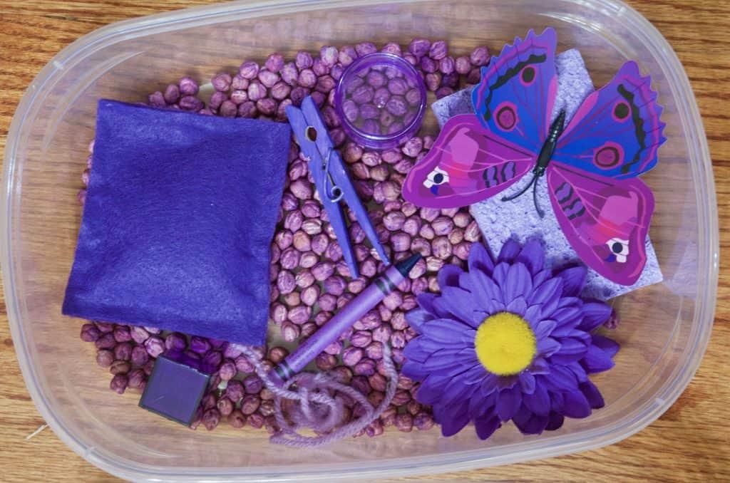 purple color sensory bin