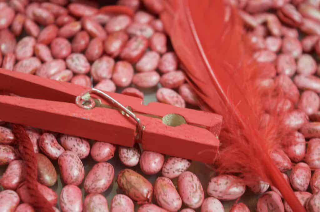 red color sensory bin