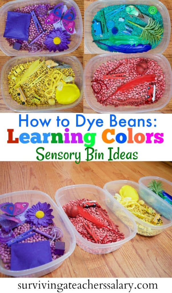 How to Dye Beans Learning Colors Sensory Bin Ideas