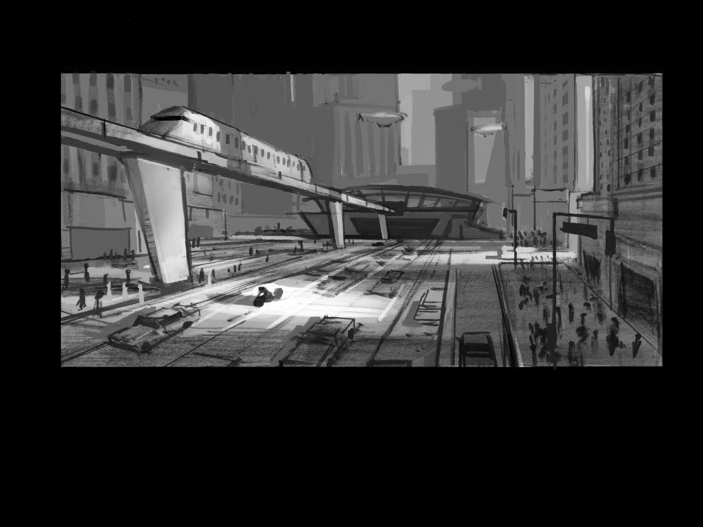 train concept art in Incredibles 2