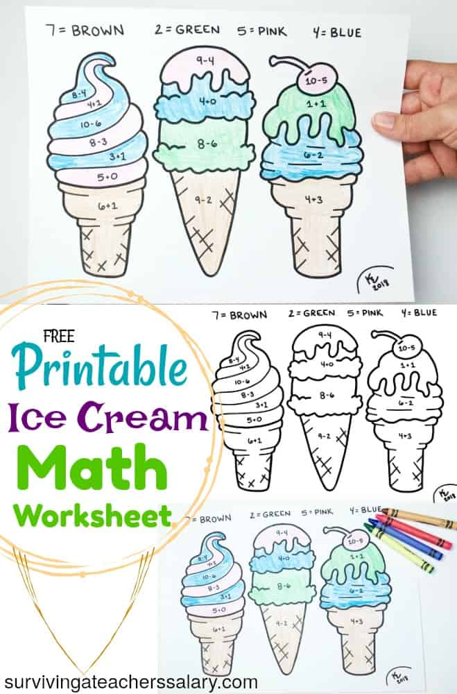 FREE Printable Summer Ice Cream Math Worksheet