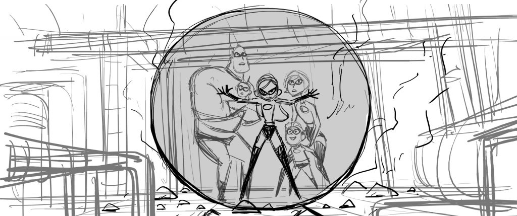art drawing the Incredibles family powers