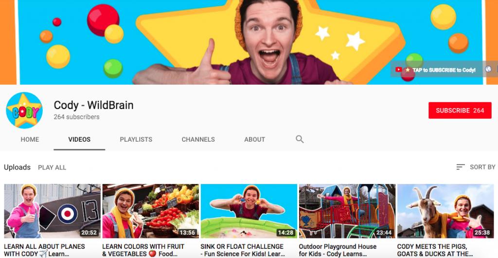 Cody on Wildbrain Youtube channel