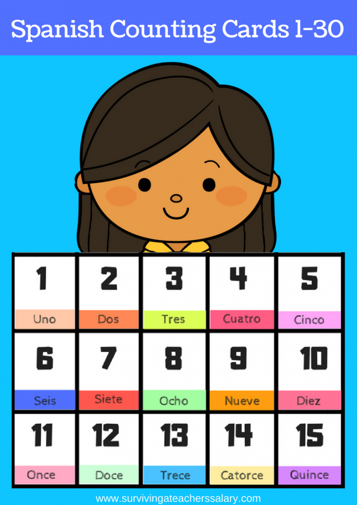 printable spanish flashcards numbers 1-30