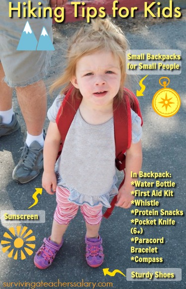 preschool girl with hiking backpack safety tips