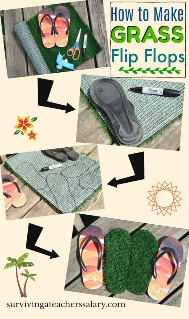 step by step tutorial how to make grass flip flops