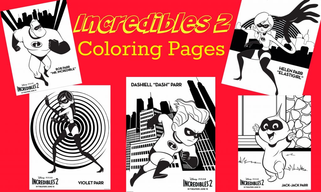 Parr family Incredibles Coloring sheets