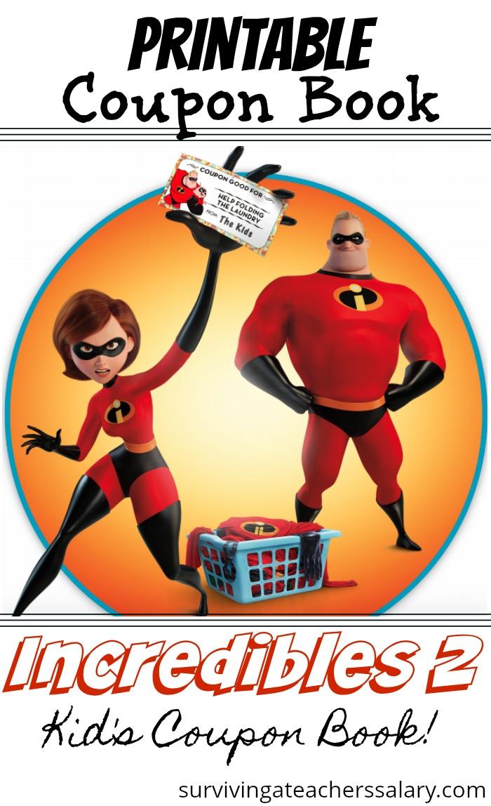 printable coupon book for kids incredibles 2 superheroes