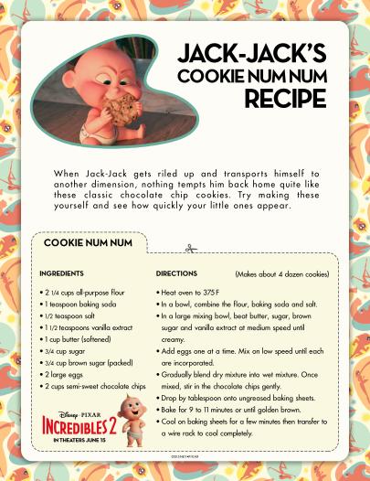 Jack Jack printable cookie recipe