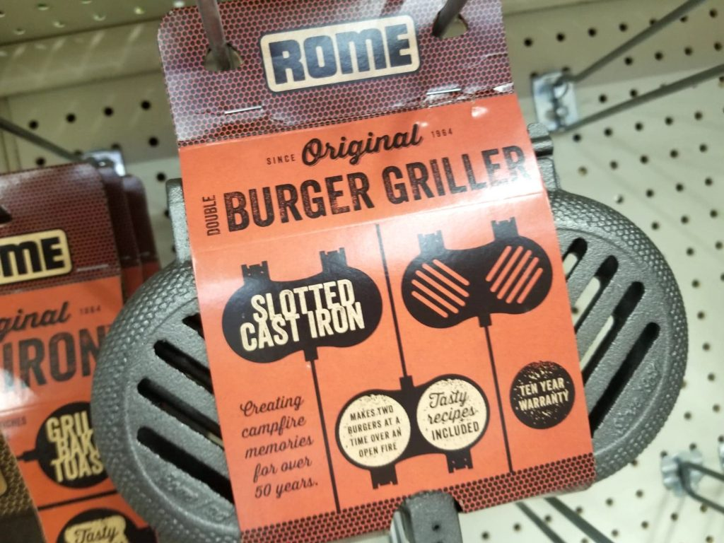 cast iron burger griller at Theisen's