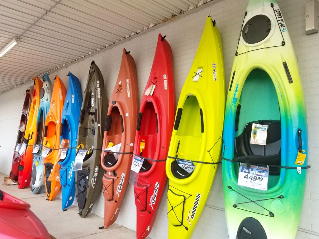row of colorful kayaks at Theisen's