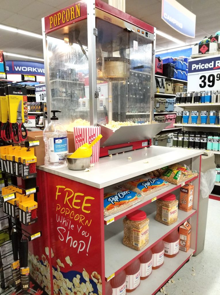 popcorn stand in Theisen's Store