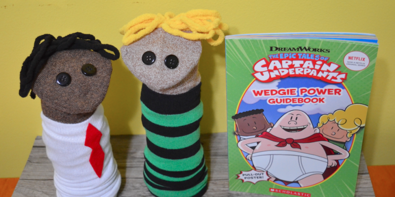 Captain Underpants book sock puppets