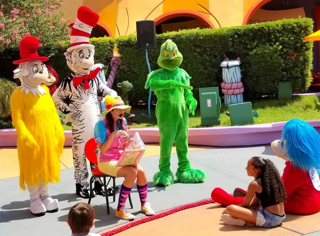 Dr Seuss book reading in UNiversal Islands of Adventure
