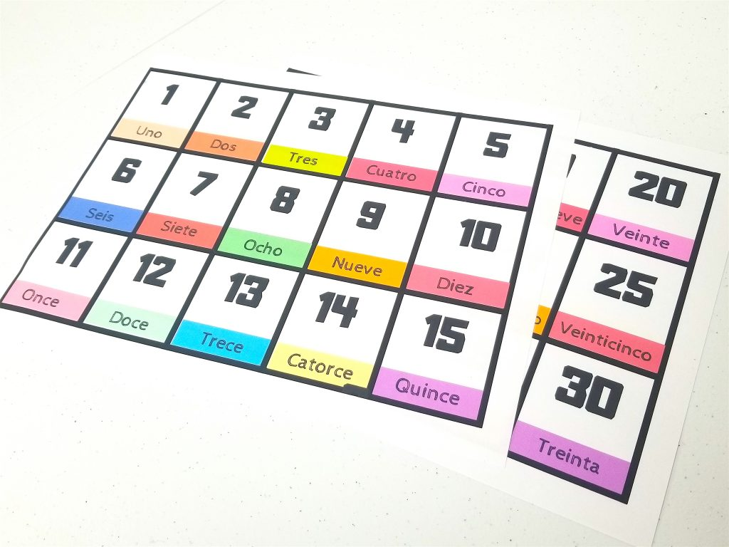 FREE Printable Spanish Flashcards Numbers 1-30