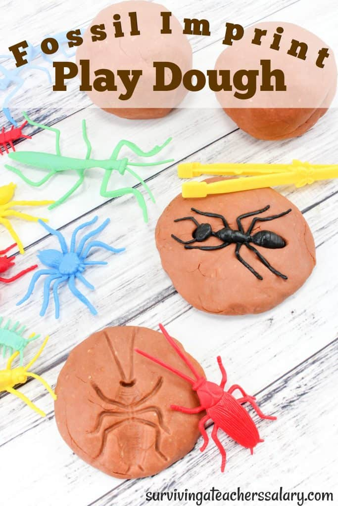 toy bugs in fossil play dough recipe