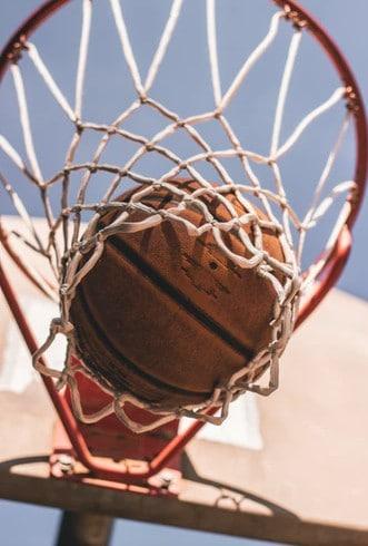 basketball under basketball hoop