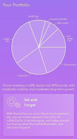 investment portfolio on Acorn app