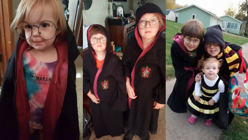 kids dressing up in Harry Potter robes