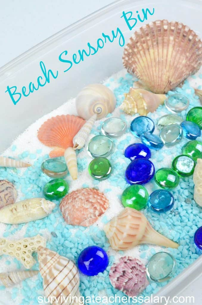 beach themed sensory bin for preschool play