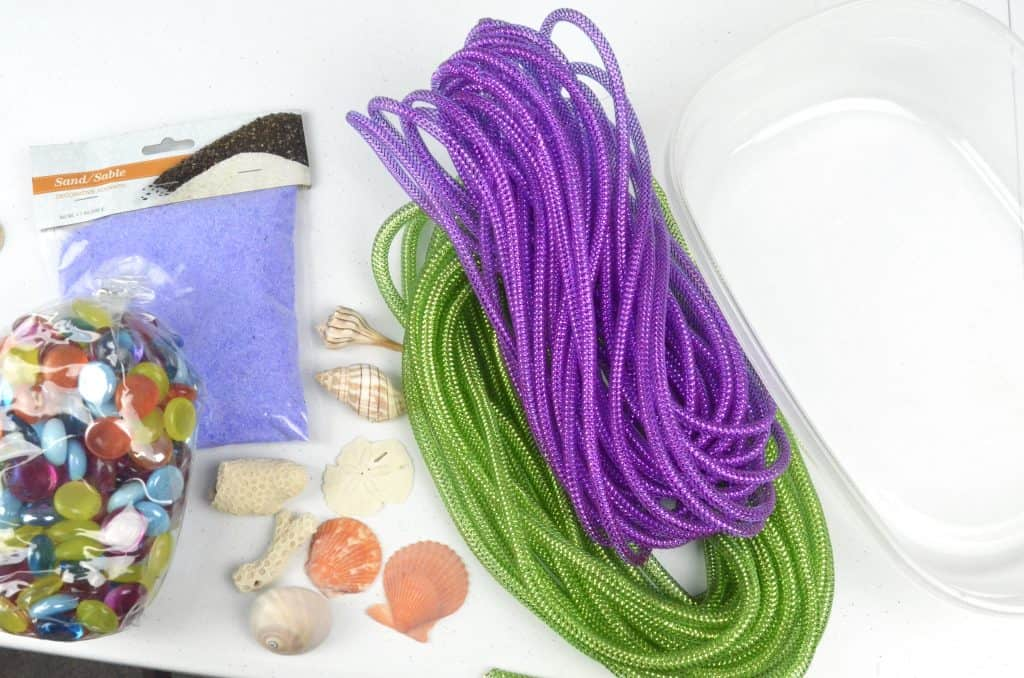 materials for mermaid sensory bin