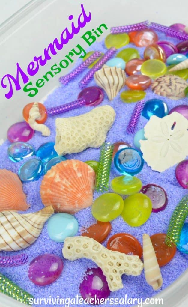 mermaid sensory bin for preschool play