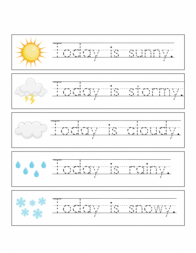 weather themed handwriting practice writing template