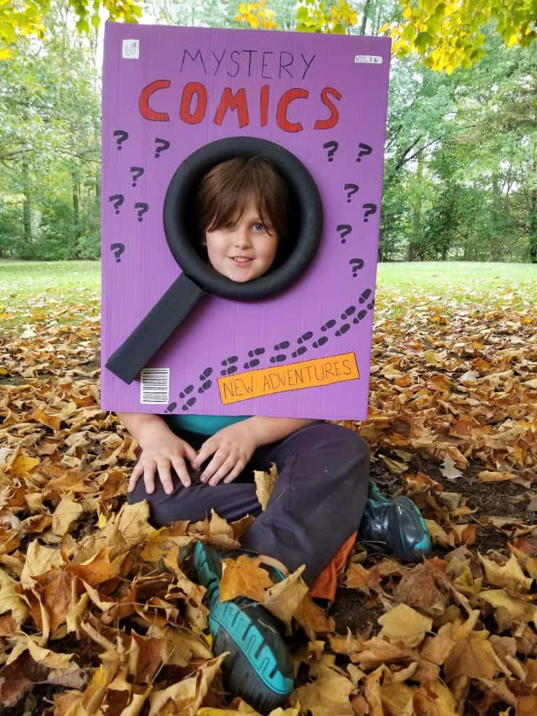 boy in DIY Comic Book Halloween Costume