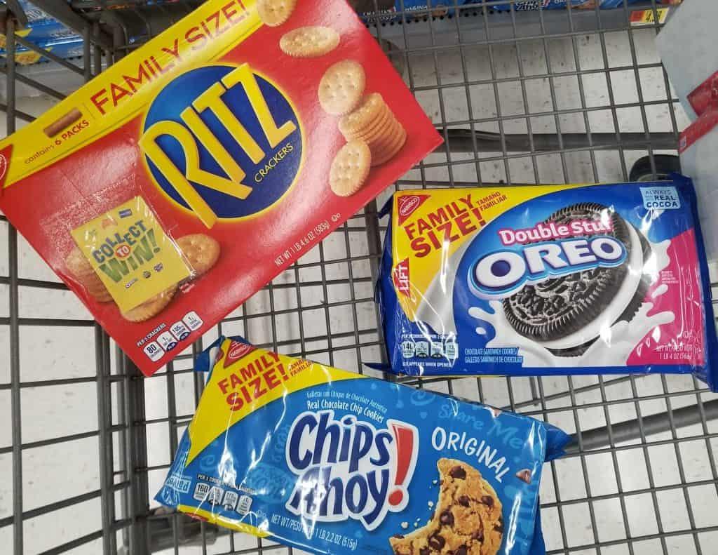 Ritz Crackers, Oreo cookies, Chips Ahoy cookie