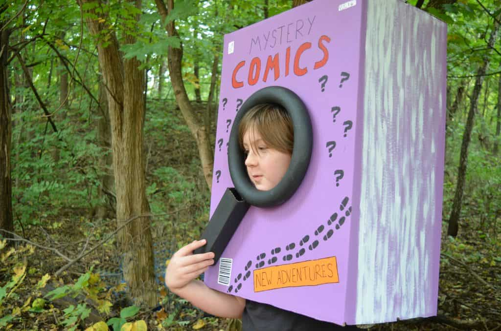 boy in mystery comic book Halloween costume