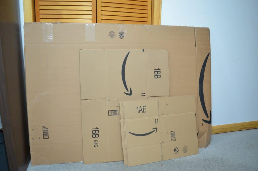 pile of different sized Amazon Prime smile boxes