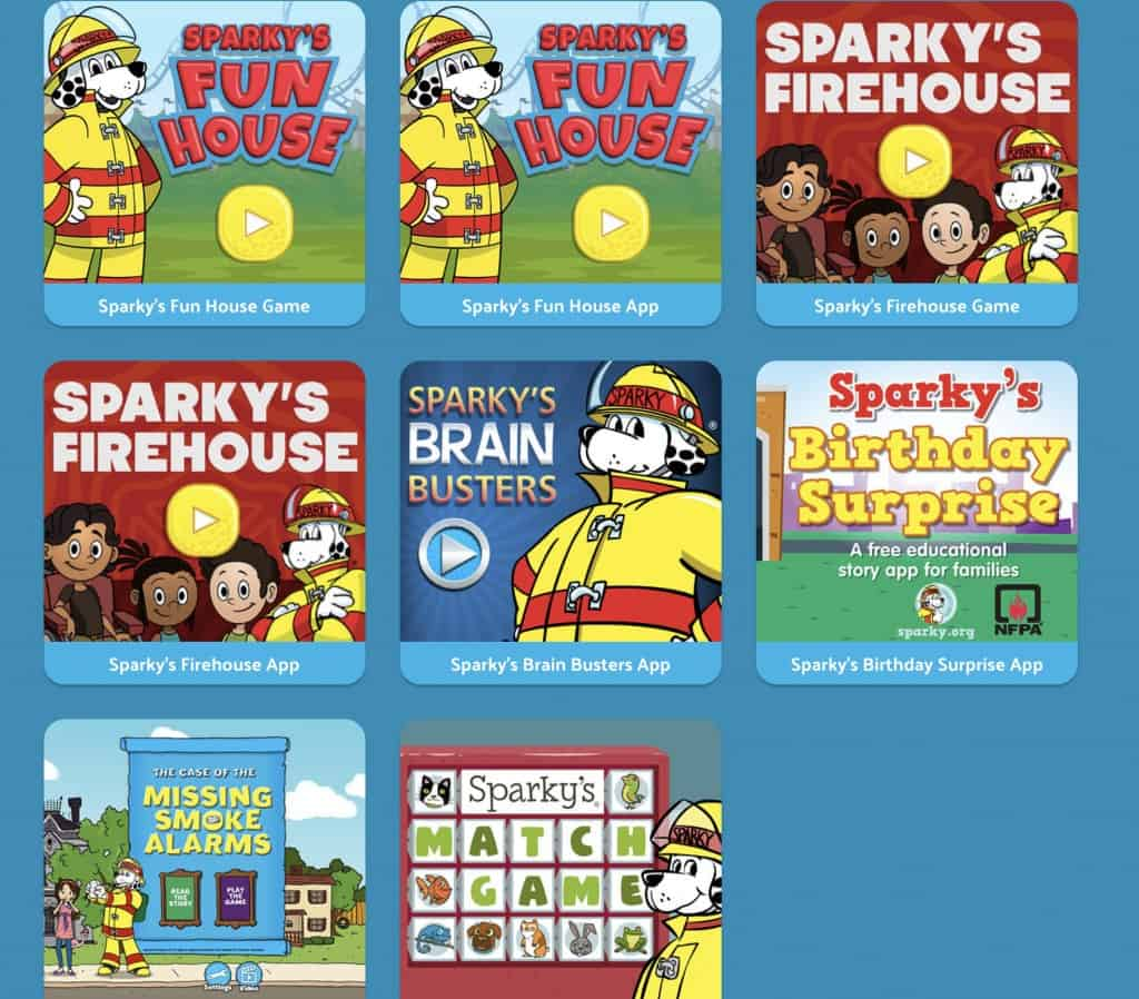 fire safety game apps from Sparky's Schoolhouse