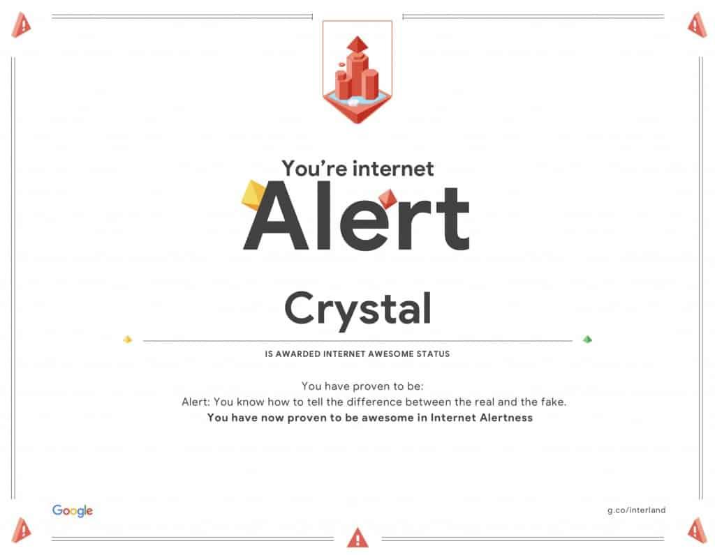 Alert Interland PDF Certificate