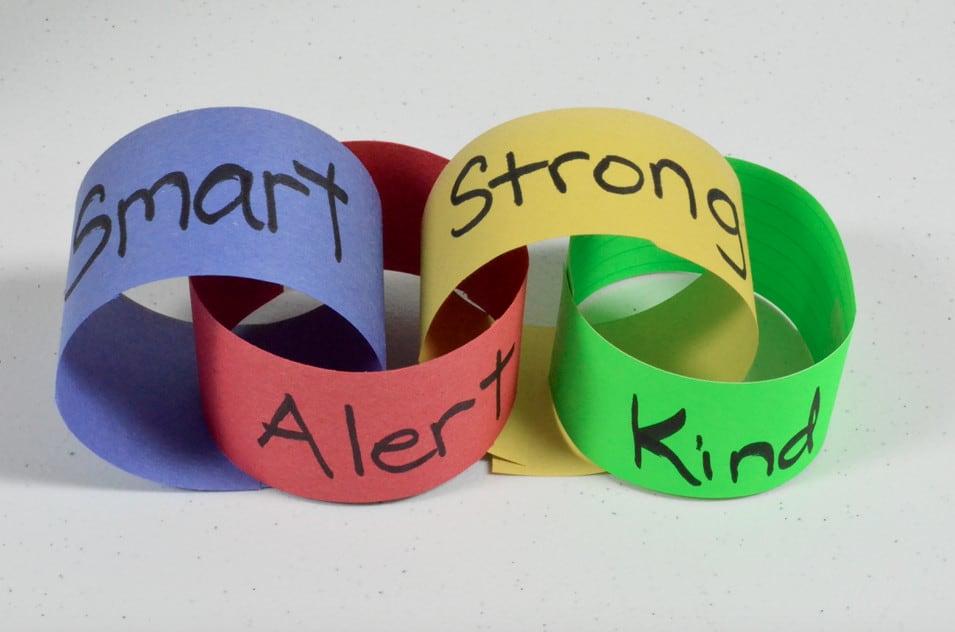Smart, Alert, Strong Kind paper chains