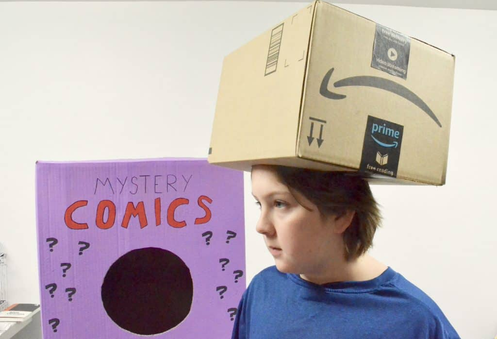Amazon box on boy's head Halloween costume