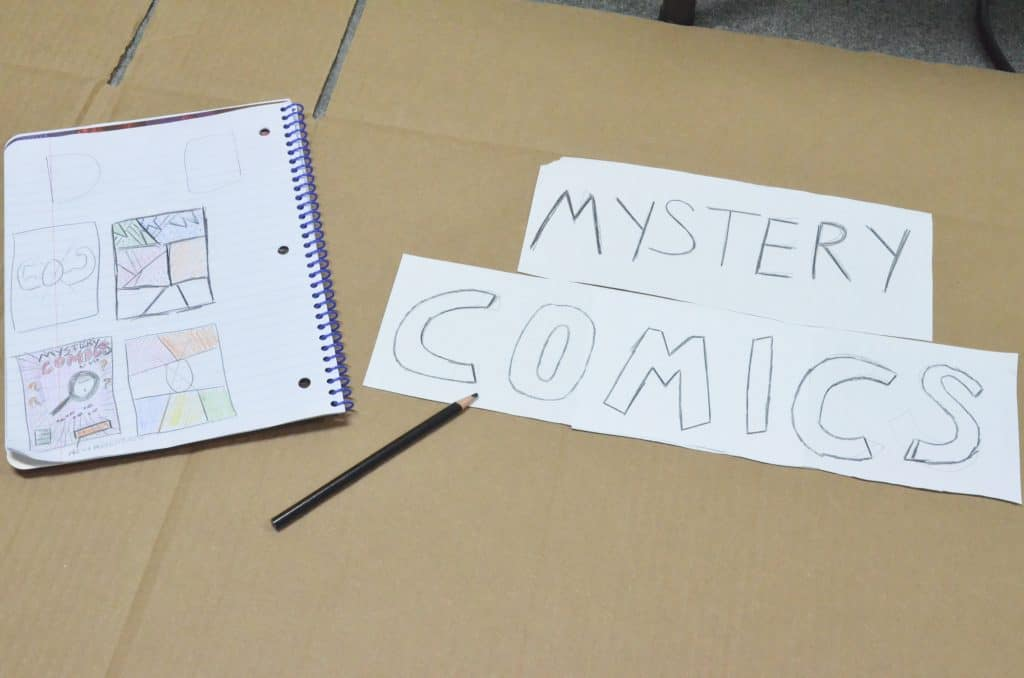 Mystery Comics hand drawn signs