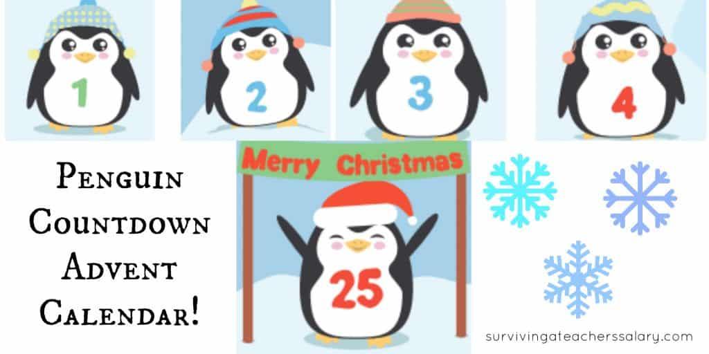 cute printable penguin advent calendar