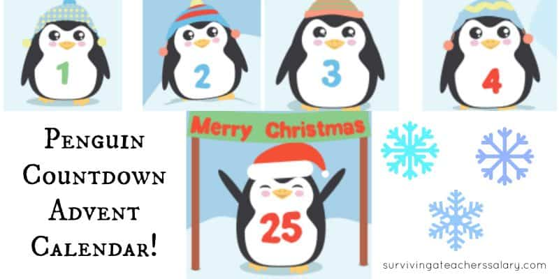 cute printable penguin advent calendar