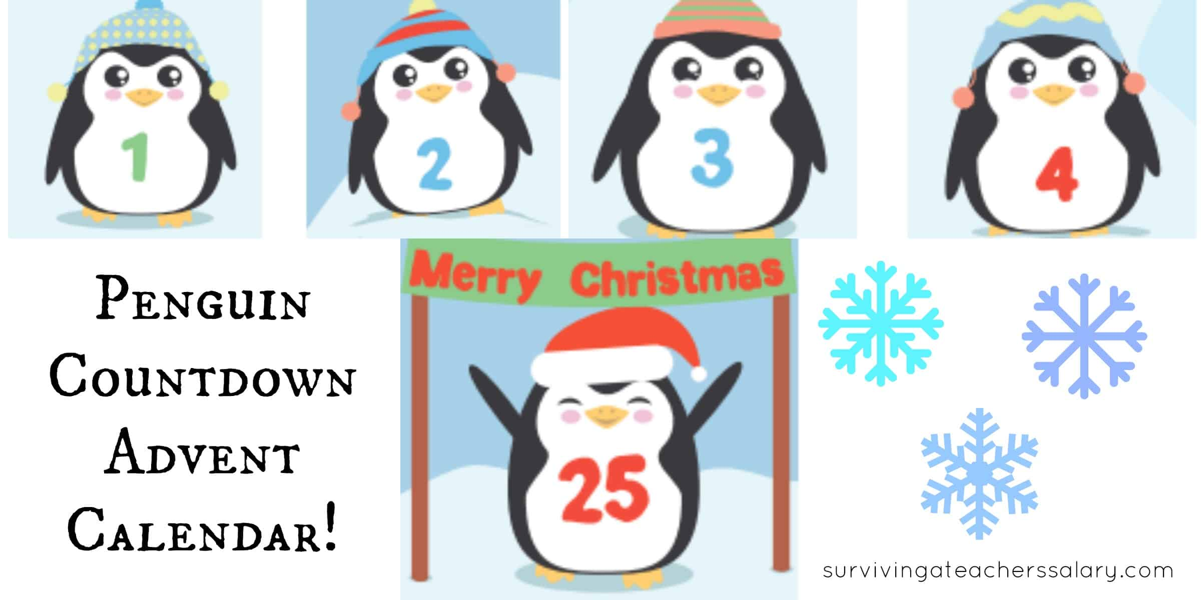 image regarding Penguin Printable identified as Absolutely free Penguin Printable Arrival Calendar: Little ones Countdown towards