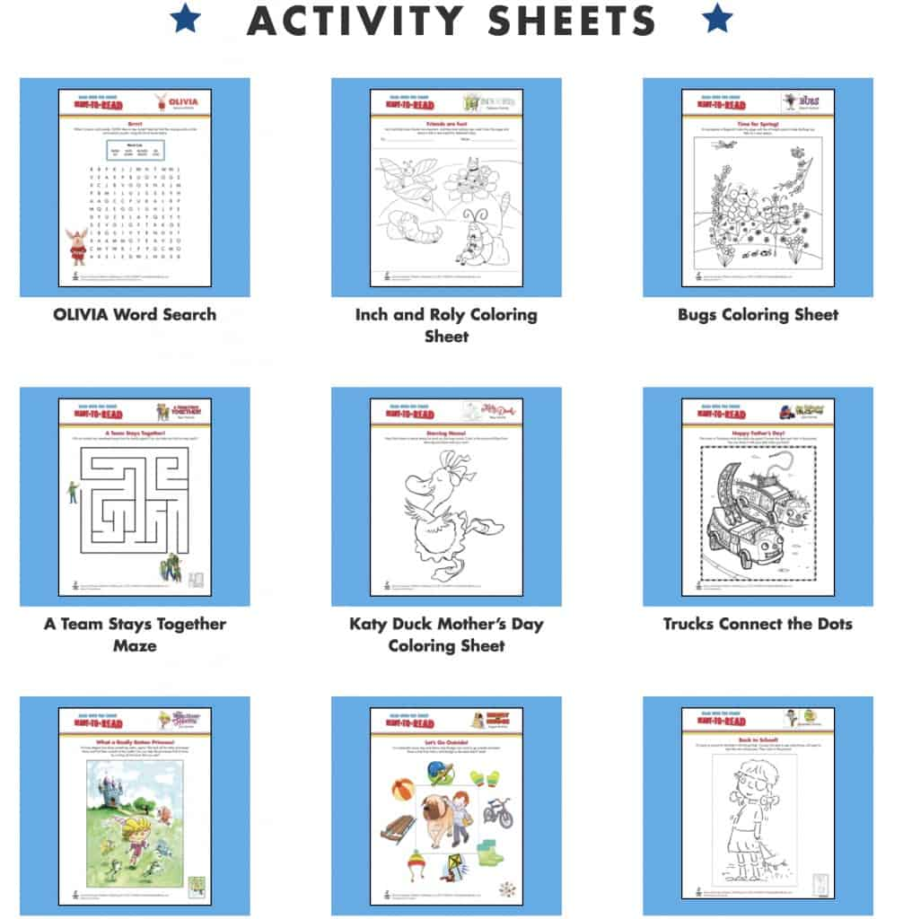 free children's activities on Ready to Read