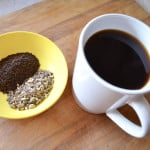 Paleo AIP coffee in white mug with dandelion chicory root in bowl