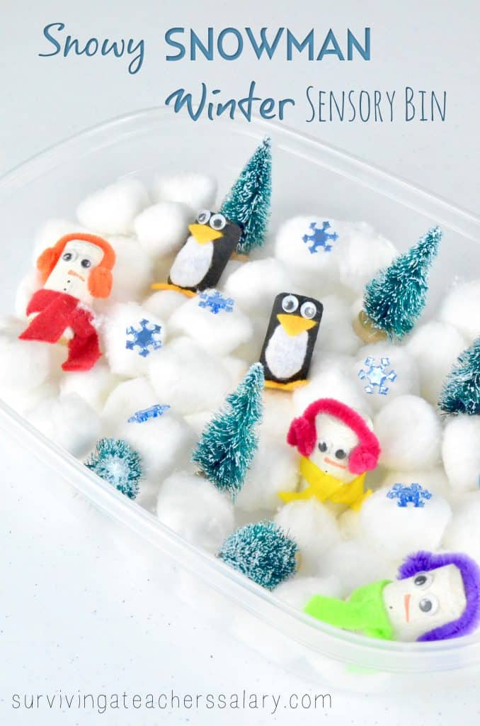 penguin and snowman winter sensory bin