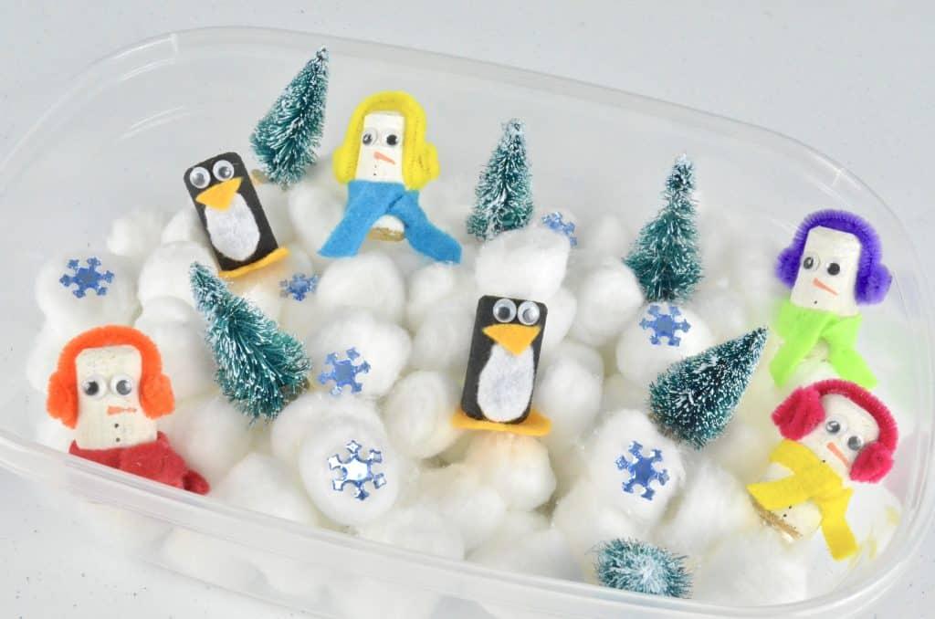penguin and snowman winter sensory bin