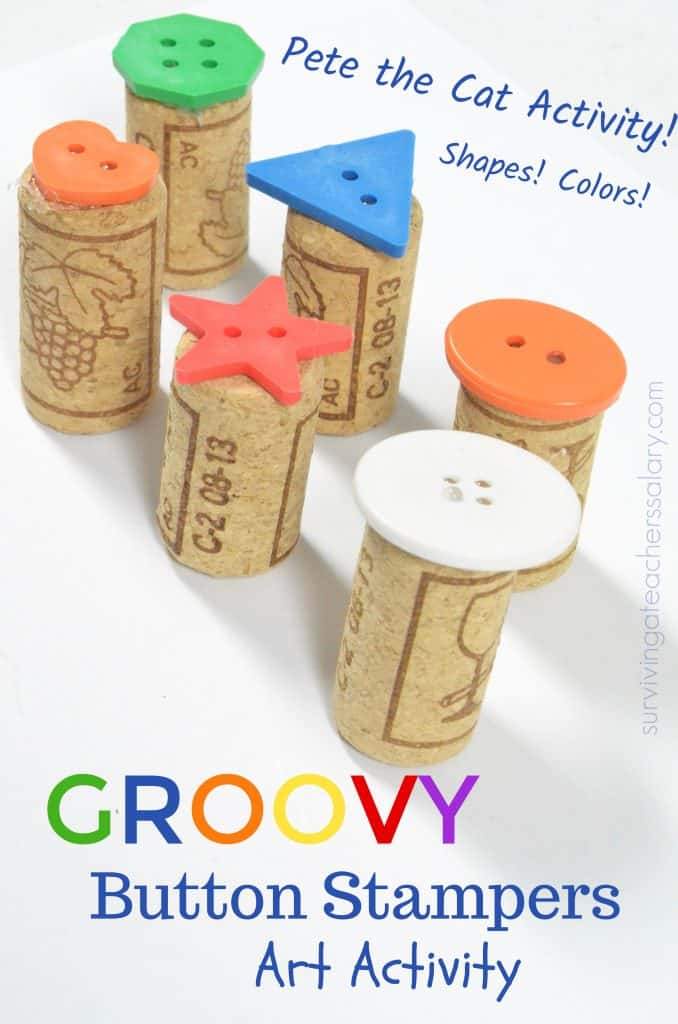 button and wine cork stamps