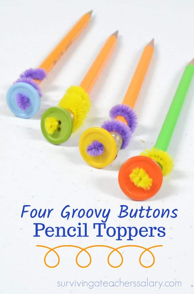 four groovy button pencil toppers craft