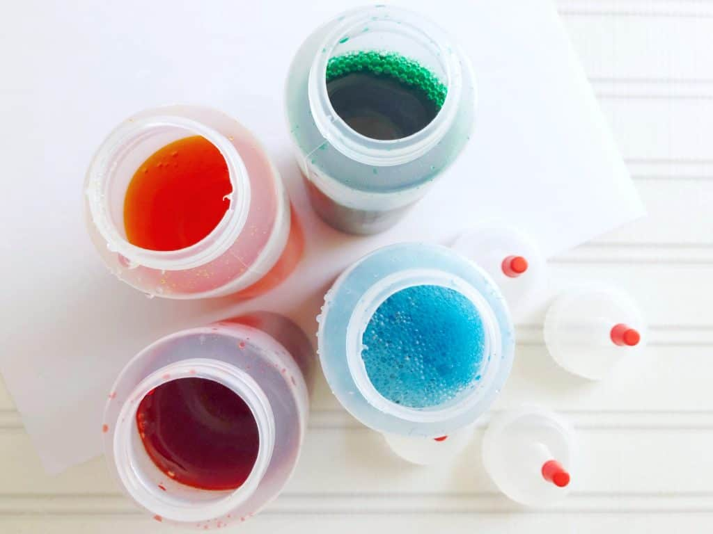 food coloring in bottles snow painting recipe