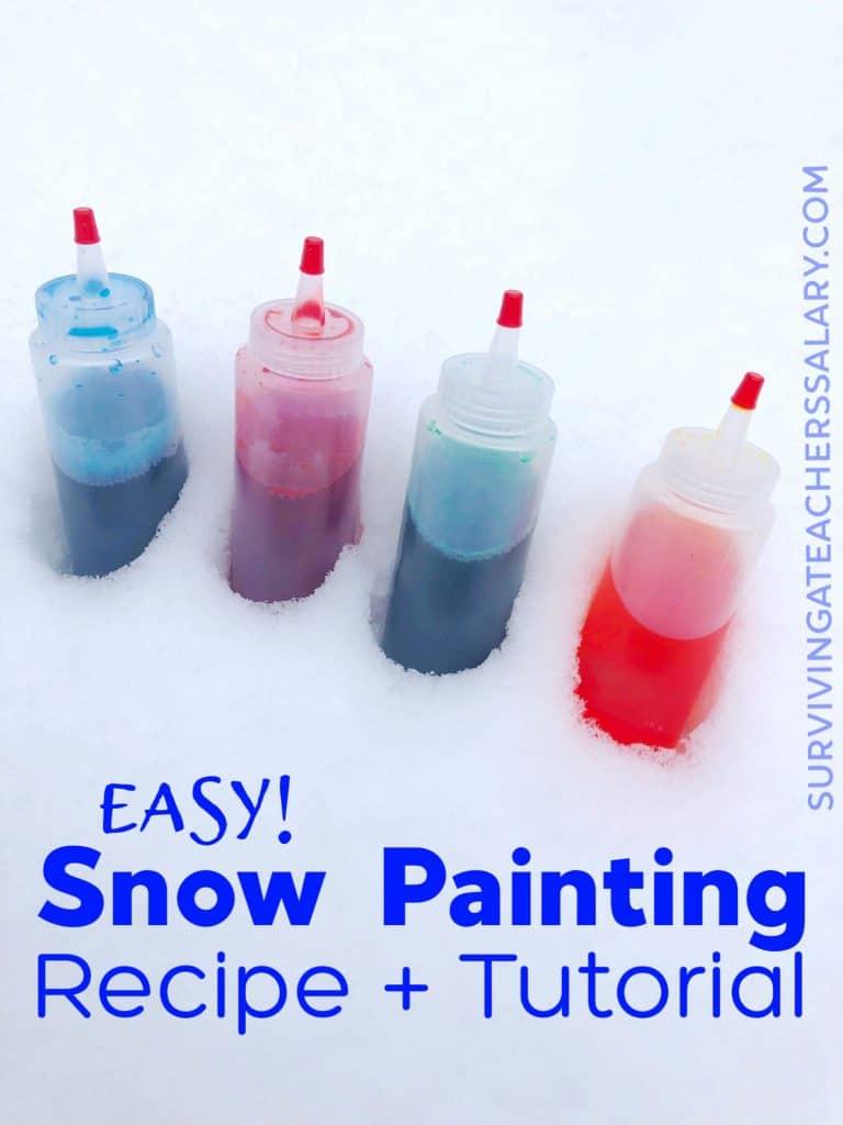 four bottles snow paint