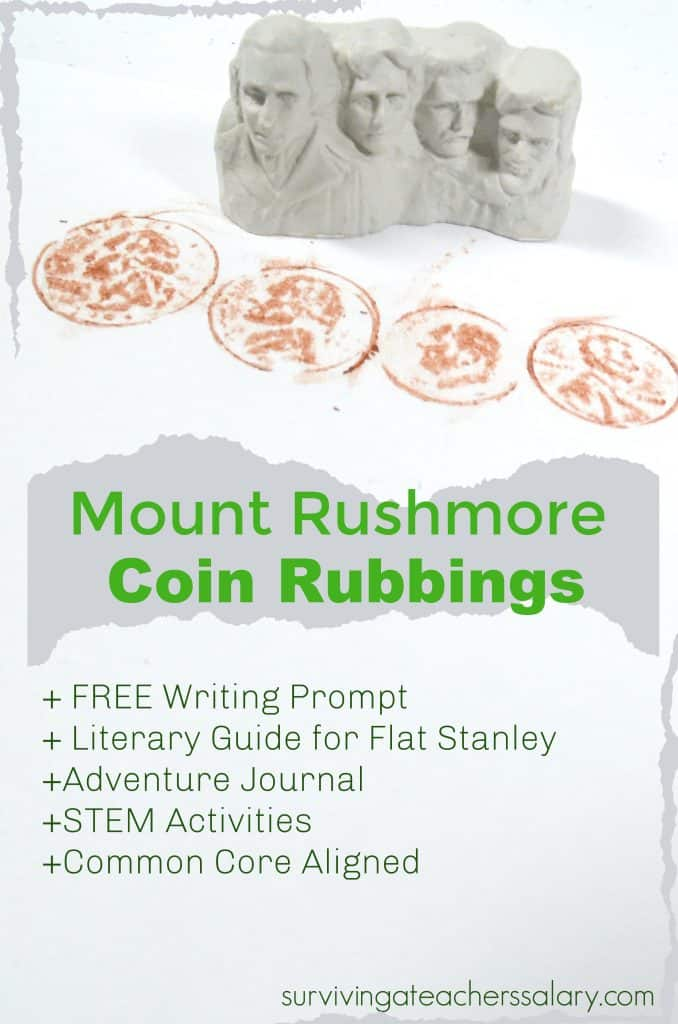 coin rubbings Mount Rushmore activity for kids