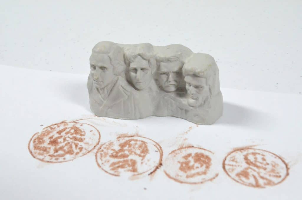 Mount Rushmore and coin rubbings